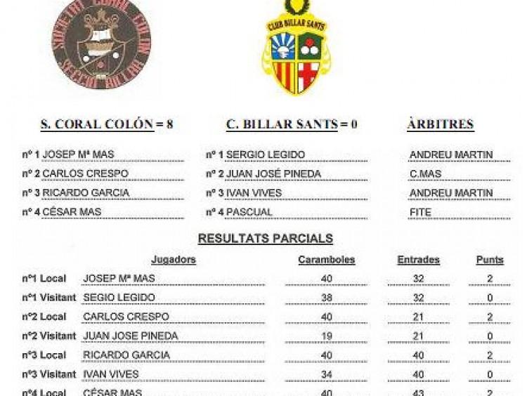 Lliga catalana 4ª jorn.: S Coral Colon 8 – Sants 0