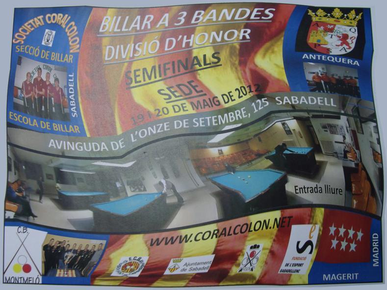 En directo!!: Liga Nacional 3 bandas Sede Sabadell