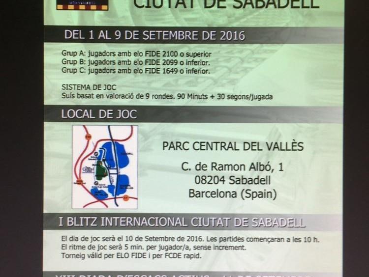 """Triptico IX Open internacional d'escacs """"CIUTAT DE SABADELL"""""""