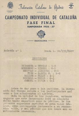 Història dels Escacs Catalans XXV Campionat de Catalunya Individual 1957