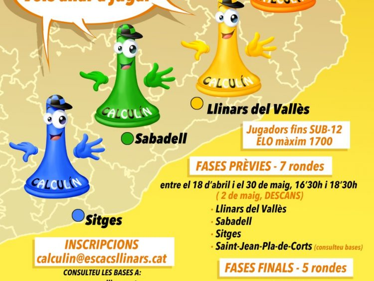 VII OBERT D'ESCACS CALCULÍN 2020 LLINARS del Vallès/ SABADELL / SITGES / SAINT-JEAN-PLA-DE-CORTS